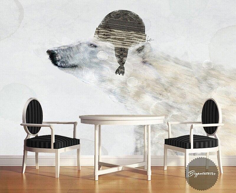 Leuk Behang Slaapkamer : Leuke ijsbeer behang muurschildering 3d cartoon foto behang kids