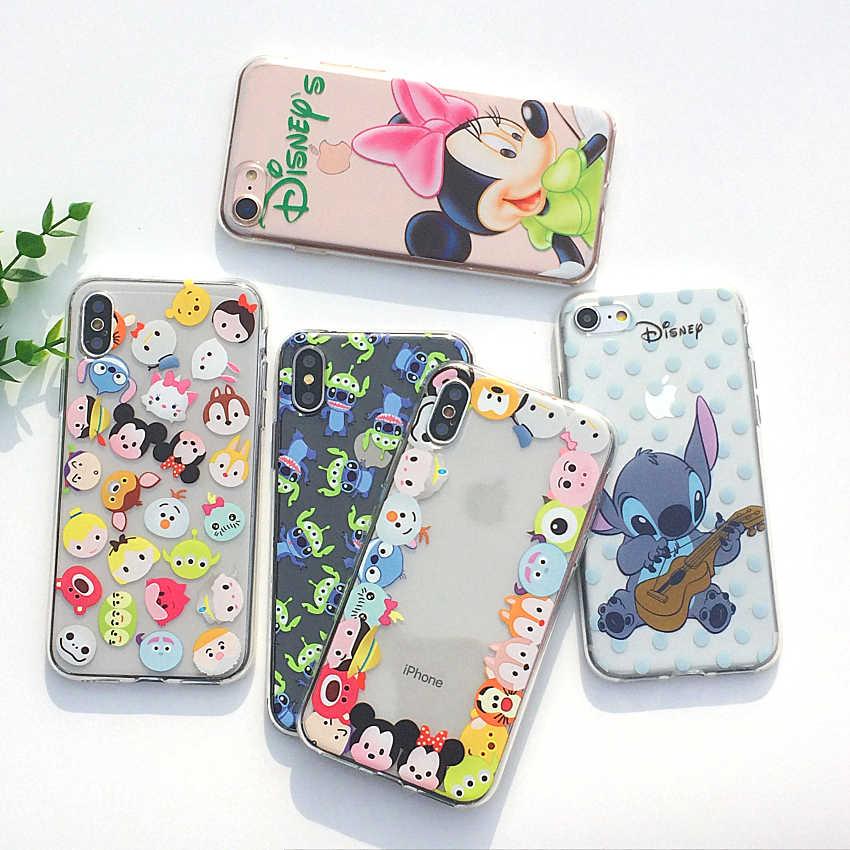 6d6bf4d1647 Dibujos Animados Mickey Mouse suave TPU silicona transparente funda de  teléfono para Apple iPhone X XS