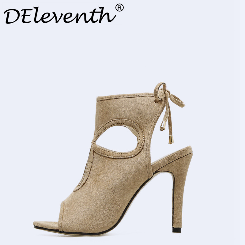 DEleventh Summer Women Shoes Fashion Sexy Hollow Out Open Toe Slingbacks Stiletto High Heels Party Lady Woman Shoes Apricot US35 summer woman green high heels fashionable 16cm stiletto platform shoes sexy ankle buckles hollow out design peep toe shoes