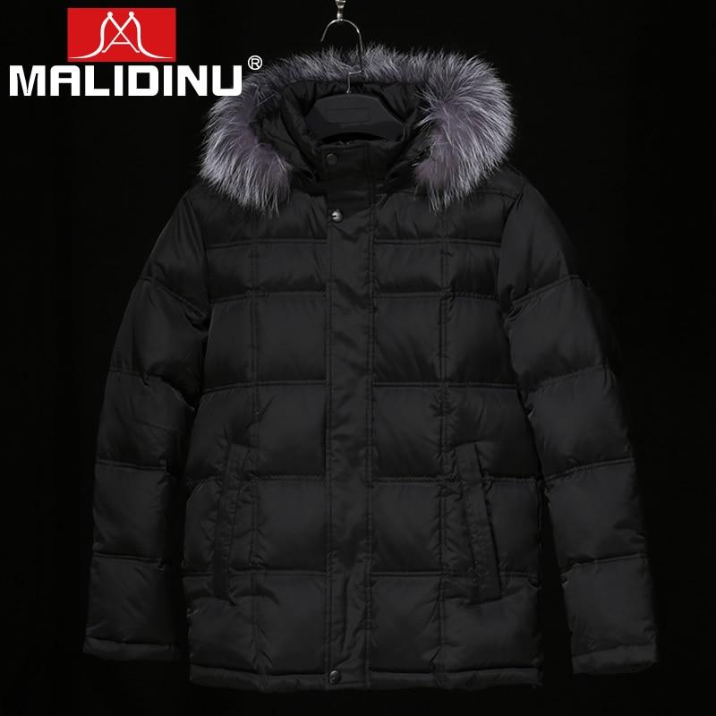 MALIDINU Brand New 2017 Winter Fur Collar Mans Thicken White Duck Down Jacket Coat Hood Parka European Size Free Shipping M11631