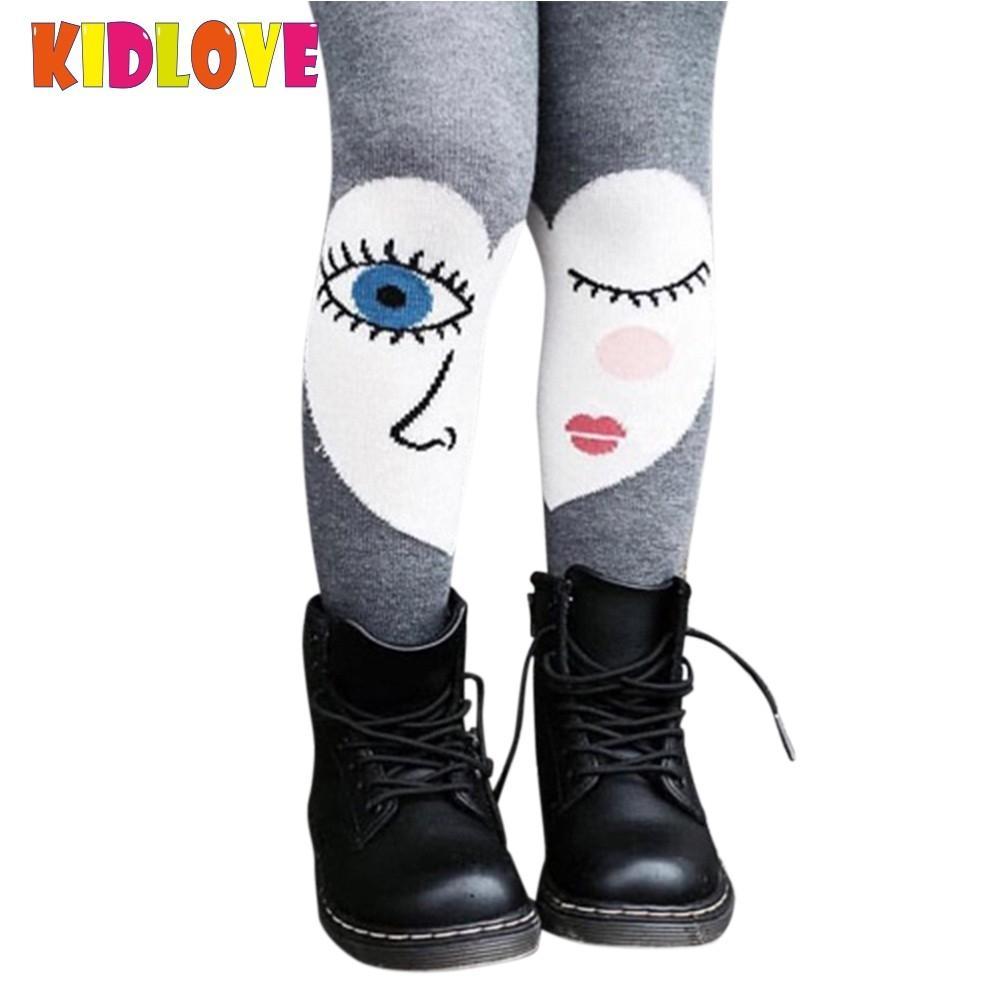 все цены на KIDLOVE High Elastic Baby Girls Tights Cotton Cute Cartoon Big Eyes Printed Stocking Dancing Pantyhose for Spring Autumn Kids