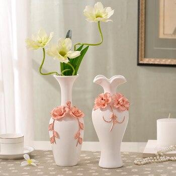 Classic handmade Carved flowers ceramic vase home furnishings Simple style desktop home decoration vase