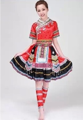 2015 new Plus Size Women Girl Red Ancient Traditional Chinese Dance Costumes Women Hmong Miao Dress Clothing Hmong Clothes