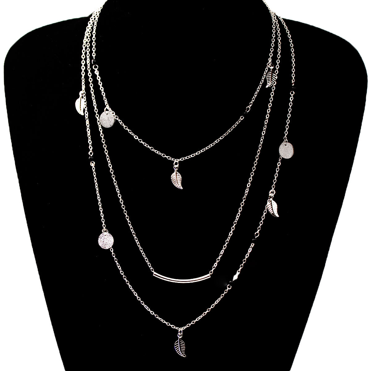 Fashion Sequins Leaf Tassel Pendant Necklace Clavicle Long Chain Choker Multi-layer