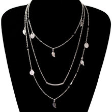 Fashion Sequins Leaf Tassel Pendant Necklace Clavicle Long Chain Choker Multi-layer Necklace black leaf pendant cord choker necklace