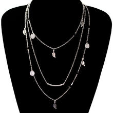 Fashion Sequins Leaf Tassel Pendant Necklace Clavicle Long Chain Choker Multi-layer Necklace(China)