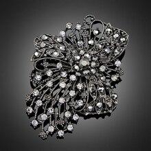 Большие черные стразы, броши, Свадебный букет цветов серебряная брошь, булавки для женщин, модные ювелирные изделия, аксессуары для одежды