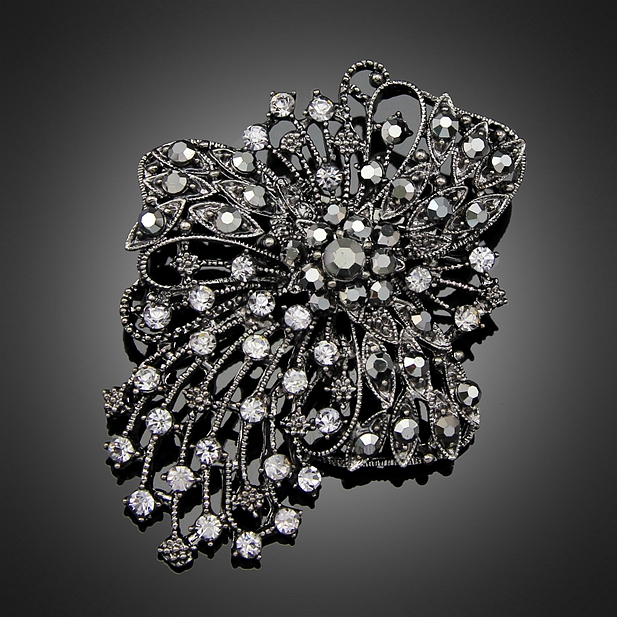 Large Black Rhinestone Brooches Wedding Bouquet Flowers Silver color Brooch  Pins For Women Fashion Jewelry Clothes Accessoris-in Brooches from Jewelry  ... 5a8faa5a0288