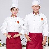 Long Sleeve Chef Tops Chinese Restaurant Chef Uniforms Chef Jacket Restaurant Waiter Kitchen Uniform for Women Men Cook Uniforms