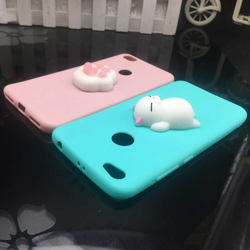 3d Squishy Cat del TPU caso suave para Xiaomi mi 5X A1 6X A2 caramelo Color funda para xiaomi MI6 5 5S plus nota 3 Max 2