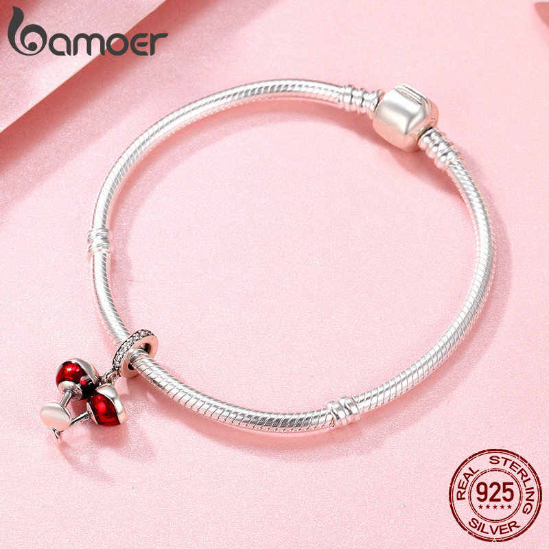 BAMOER Valentine Day Gift 925 Sterling Silver Cheers for Love Couple Beer Pendant Charm Fit Charm Bracelet DIY Jewelry SCC478