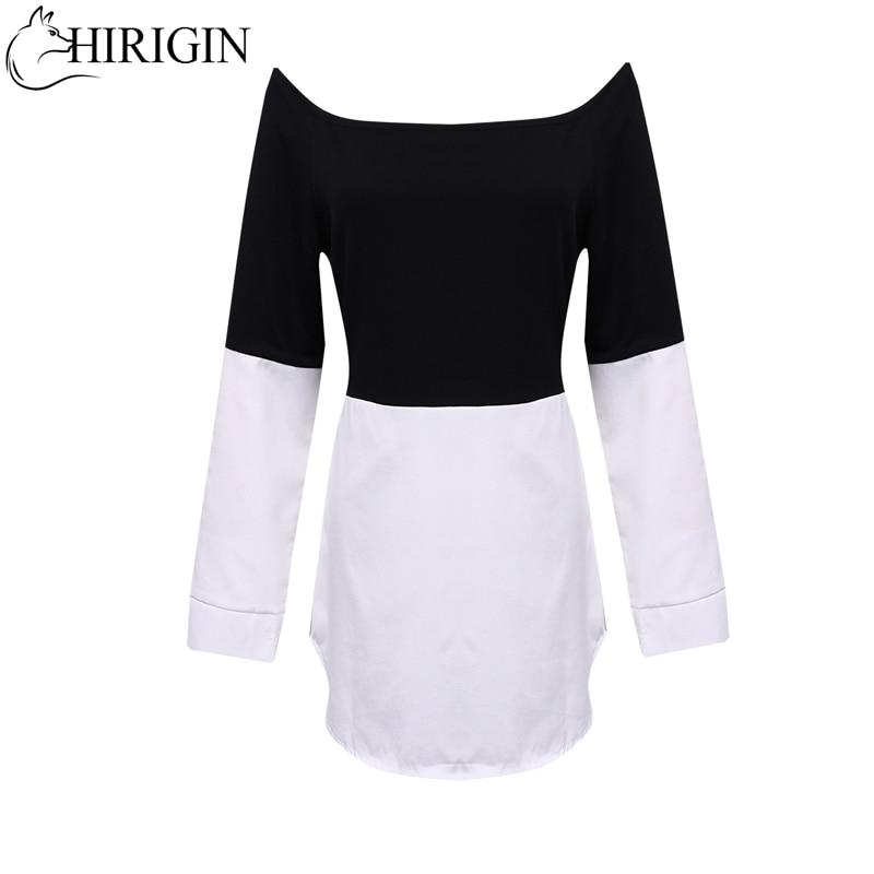 Fashion Sexy Women Splice Top Loose Off Shoulder  Long Sleeve T shirt