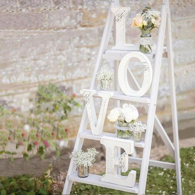 White Wooden LOVE Wedding Sign Romantic Wedding Decoration DIY Marriage LOVE Letters Photography Props 15*13*2CM
