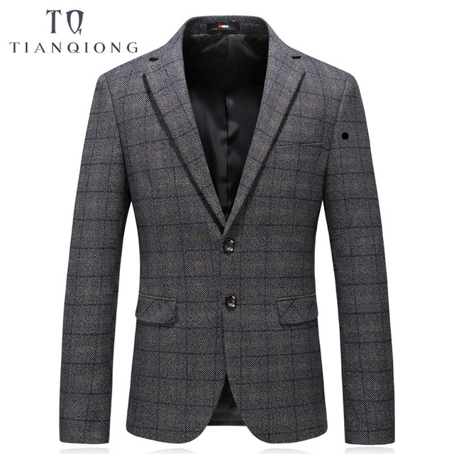 TIAN QIONG Men Casual Blazer Jacket Slim Fit Luxury Plaid Blazer for Wedding Business Casual Suit Jacket Men Elegant Coats Smart