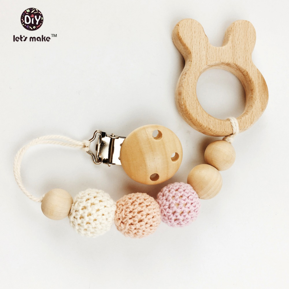 Let's make wooden baby teether pacifier clip with beech rabbit  baby accessories dummy chain wood pacifier clip wooden teether