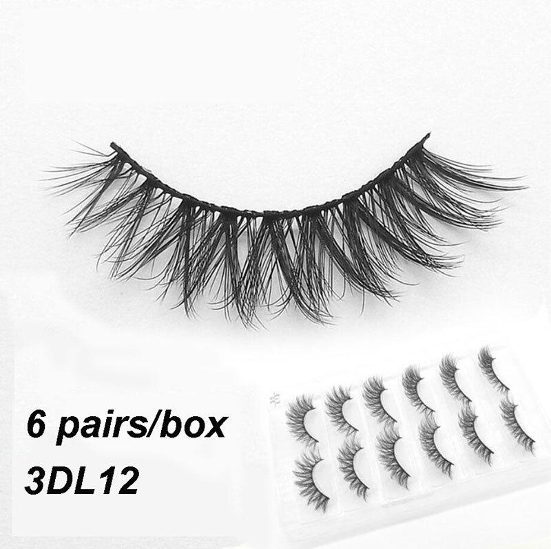3DL12 6 pairs Mink Eyelashes 3D False lashes Thick Crisscross Makeup Eyelash Extension Natural Volume Soft Fake Eye Lashes golf wood 5 head cover