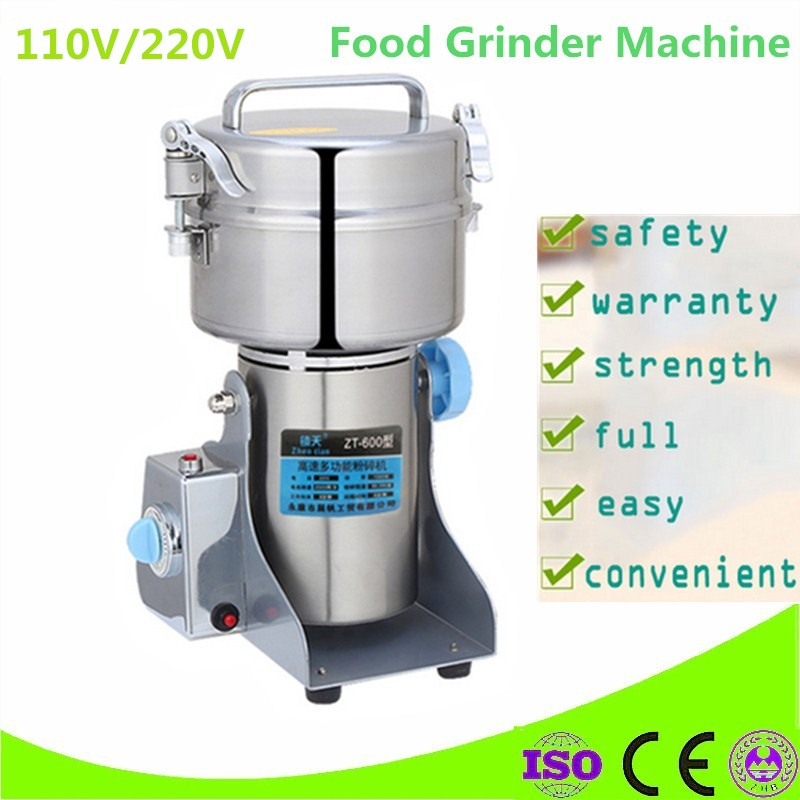 Home Use 220V 600G Stainless Steel Home Electric Mill Herb Grinder Coffee Beans Grain Cereal Mill Powder Flour Machine multifunction corn flour mill machine home use manual maize rice soybean peanut coffee cocoa beans grain grinder