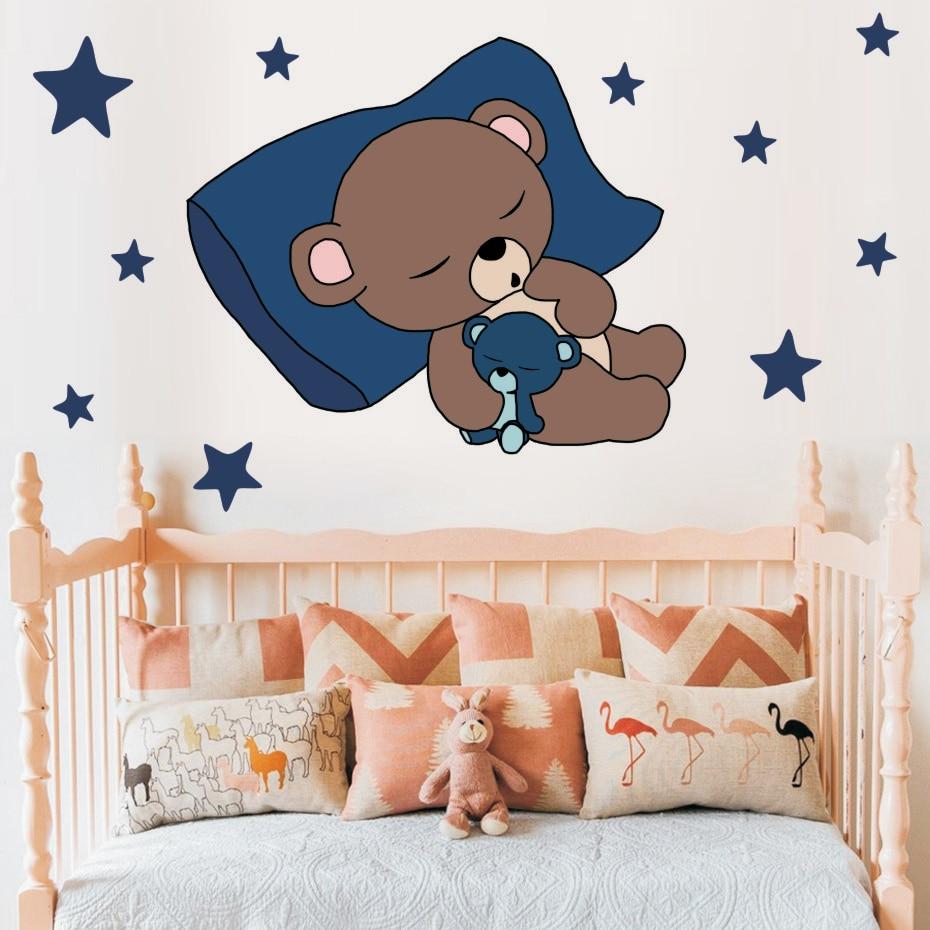 Cute Sleeping Bear with Stars Wall Decals Children's Kids Cartoon DIY Art Vinyls Stickers Bedroom Home Decor Mural Wallpaper (2)