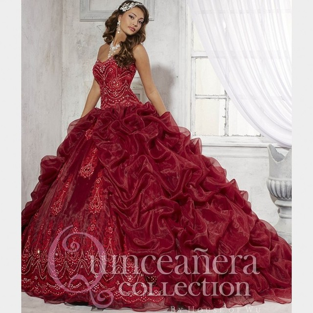 6fc11689a7c Beautiful Sweetheart Burgundy Quinceanera Dresses Pick up Pleat Organza  Train Debutante Gowns Split Front Wine Red Party Dress