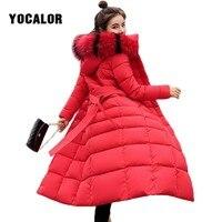 2018 Winter Long Coats Faxu Fur Collar Coat Quilted Jacket Women Warm Parka Feminina Outerwear Plus Size Hood Down Snow Wear