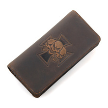 Crazy Horse Leather Billfolds Wallet  Skull Pattern Long Mens 8116R