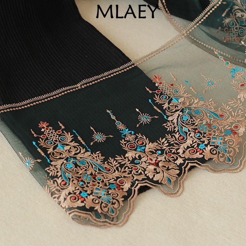 MLAEY 2Yards green Exquisite Embroidered Flower Lace Trim High Quality Lace Fabric DIY Craft&Sewing Dress Clothing Accessories 1pcs fabric flower venise lace sewing applique lace collar neckline collar applique diy craft neckline sewing accessories 01 09