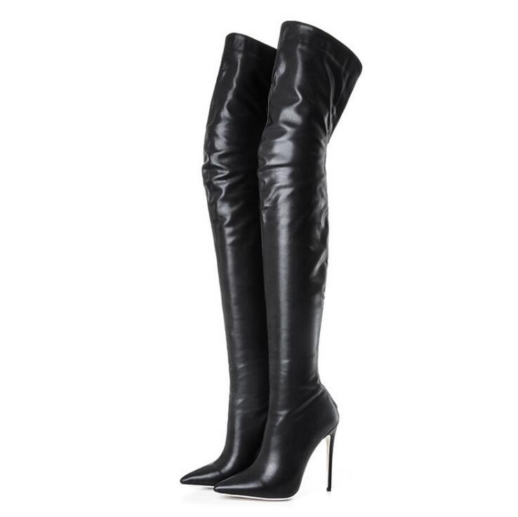 Women Boots 2018 Black Leather Pointed Toe Back Zipper Stretch Thigh Boots 12CM High Heels Over Knee Boots Womens Plus Size Boot womens thigh high boots pointed toe black knit shoes women sock boots stretch fabric low heels over knee womens chelsea boots