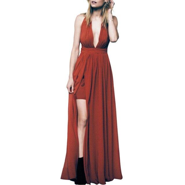 CA Mode Women Summer Chiffon Dress Deep V-neck Halter Long Sexy Bandage Dresses