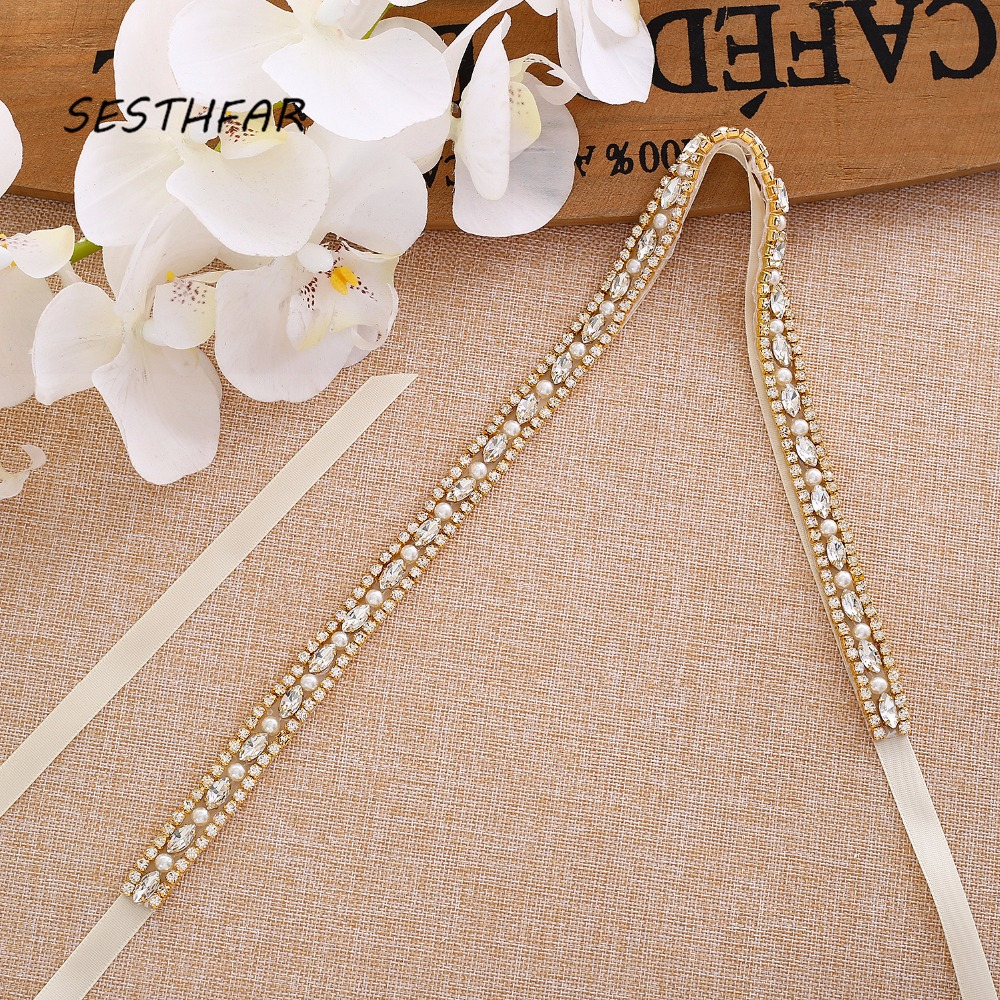 Crystal Wedding Belt Gold Pearls Rhinestones Ribbons Bridal Belt Sash For Wedding Dress J170G