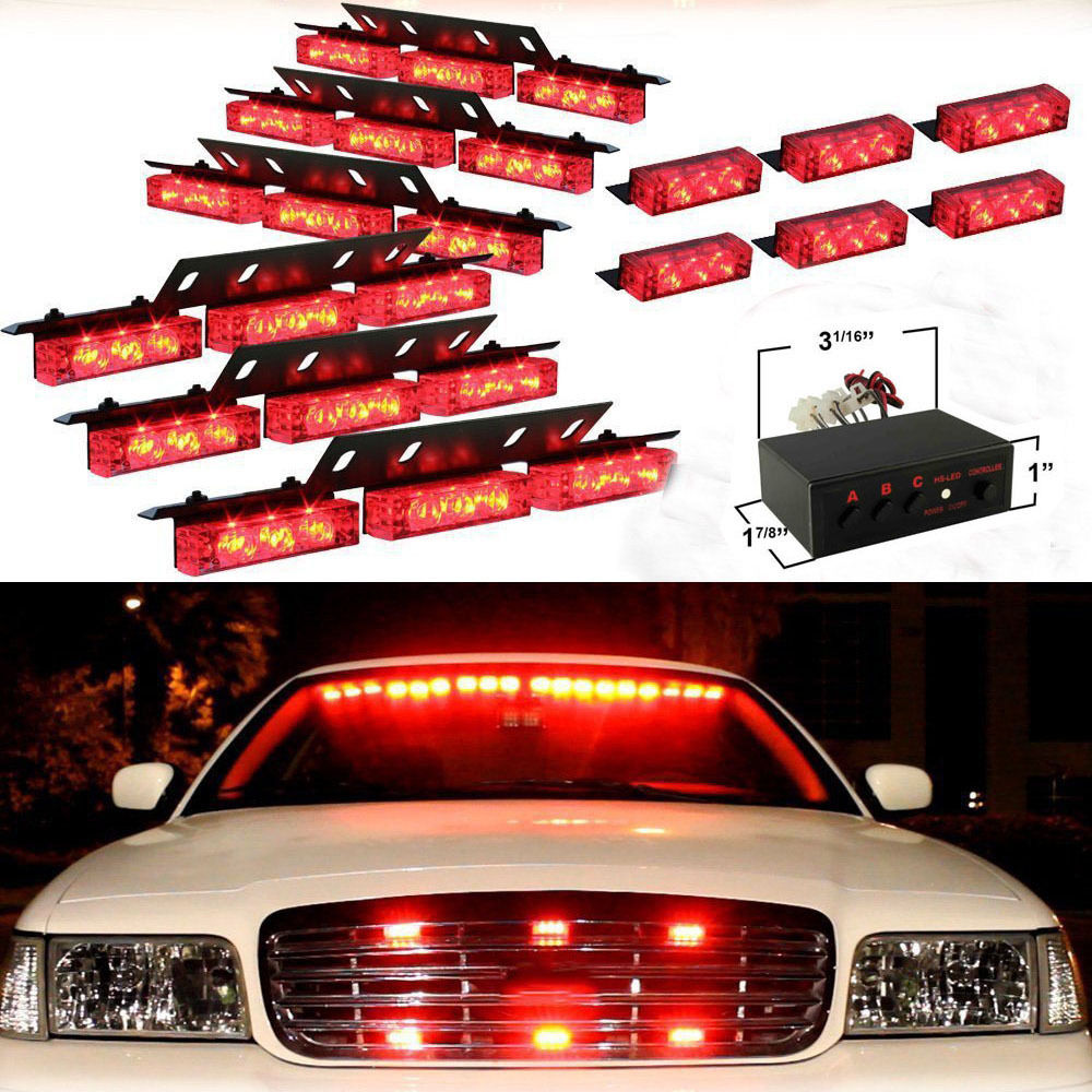 Car Styling 72 LED Super Bright Red Warning Dash Light Car Flashing Strobe Emergency Lamp Truck Police Led Lights dc12v 24v 5730smd 72 led car truck strobe flashing emergency light beacon rescue vehicle ambulance police warning lights lamp