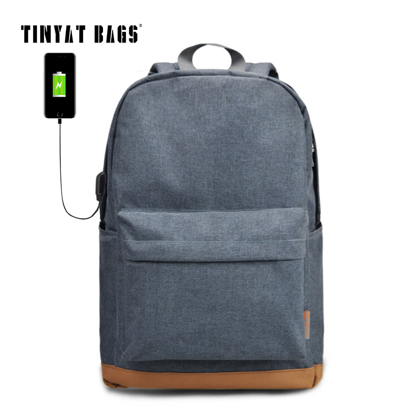 TINYAT Men's 15 inch Laptop Backpack USB Port School Backpacks Rucksacks Leisure For Teenage Boys mochila male Escolar Gray 1101 tigernu nylon backpack men s backpack 15 6 inch laptop mochila usb chargin backpacks male escolar waterproof
