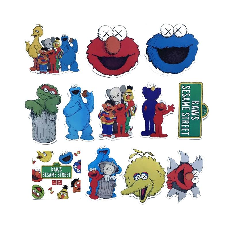 12Pcs/lot Sesame Street Cute Cartoon 2020 Stickers Decorate The Cartoon For Snowboard Laptop DIY Styling Vinyl Home Decor