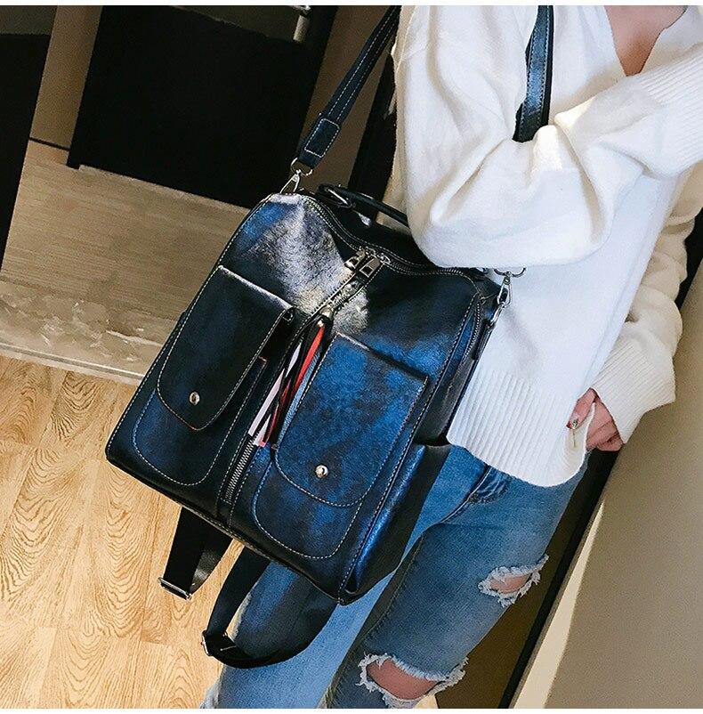 HTB1ODeMadzvK1RkSnfoq6zMwVXac Retro Leather Women Backpack Zipper School Backpacks For Teenage Girls Bag Large Capacity Multifunction Mochila Feminina XA227H
