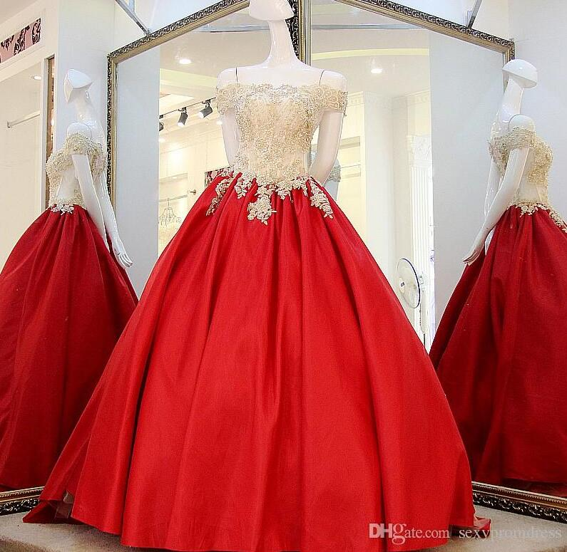 High Quality Gold And Red Prom Dresses 2017 Off Shoulder Lace