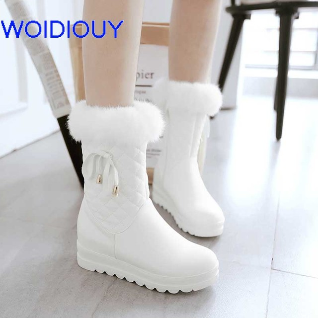 f1be7b116107 Female Snow Boots Leather Winter Boots Women Flat Waterproof Shoes Botas  Mujer Botas Femininas de inverno Black White plus size