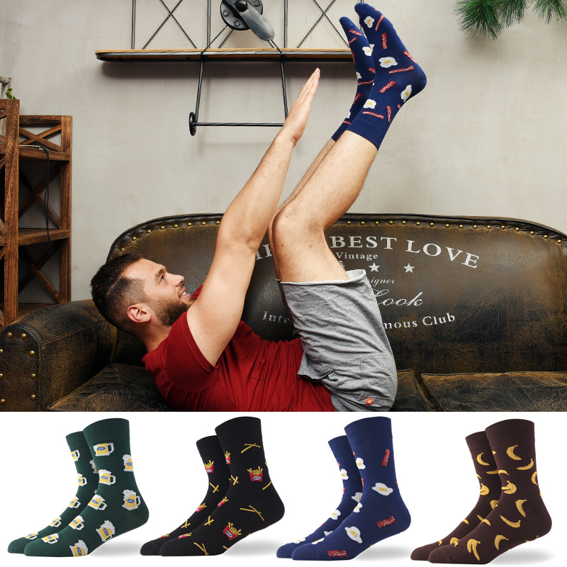 Moda Mulaya New Arrival Men's Happy Socks Men Egg Banana Beer Chips Harajuku Food Novelty Street Wear Funky Mens Socks For Male