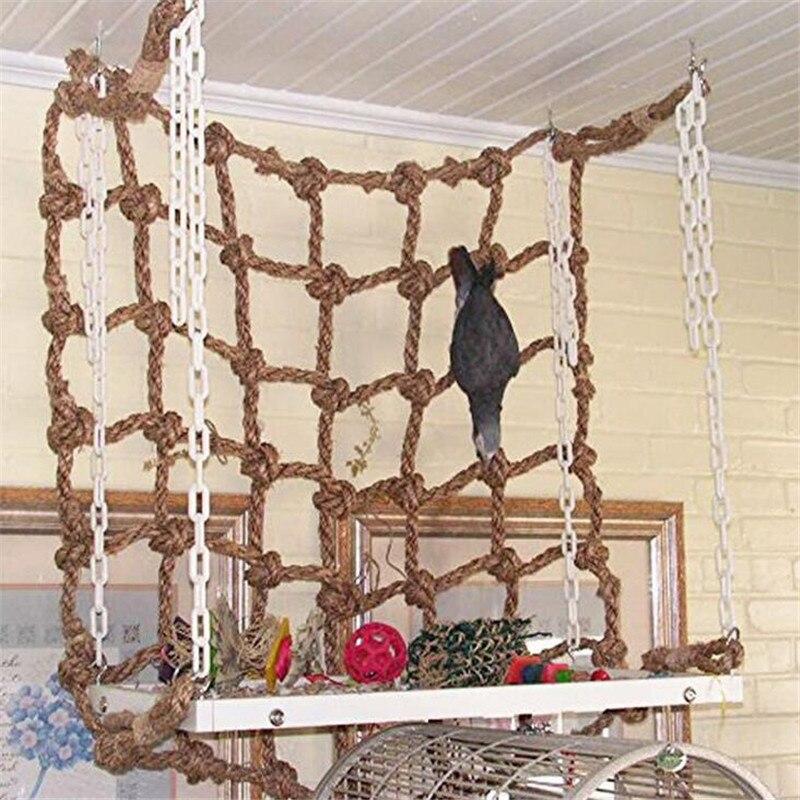 Parrot Climbing Net Bird Toy Bird Hanging Climbing Chewing Toys Pet Supplies New Pet Birds Swing Rope Net Hammock Toy With Hook