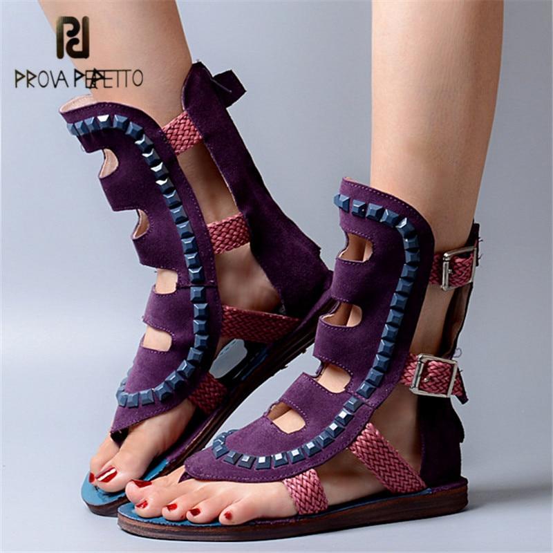 Prova Perfetto Purple Suede Rivets Studded Women Sandals Summer Beach Shoes Flip Flops Hollow Out Weave Flat Sandalia Feminina коляска esspero summer line light purple sl010a 108068275