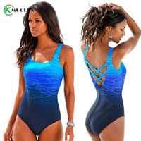 Gradient Color Cross Back Swimsuit 2019 Plus Size Swimwear Women Female Vintage Sport One Piece Beachwear Maillot De Bain Bikini