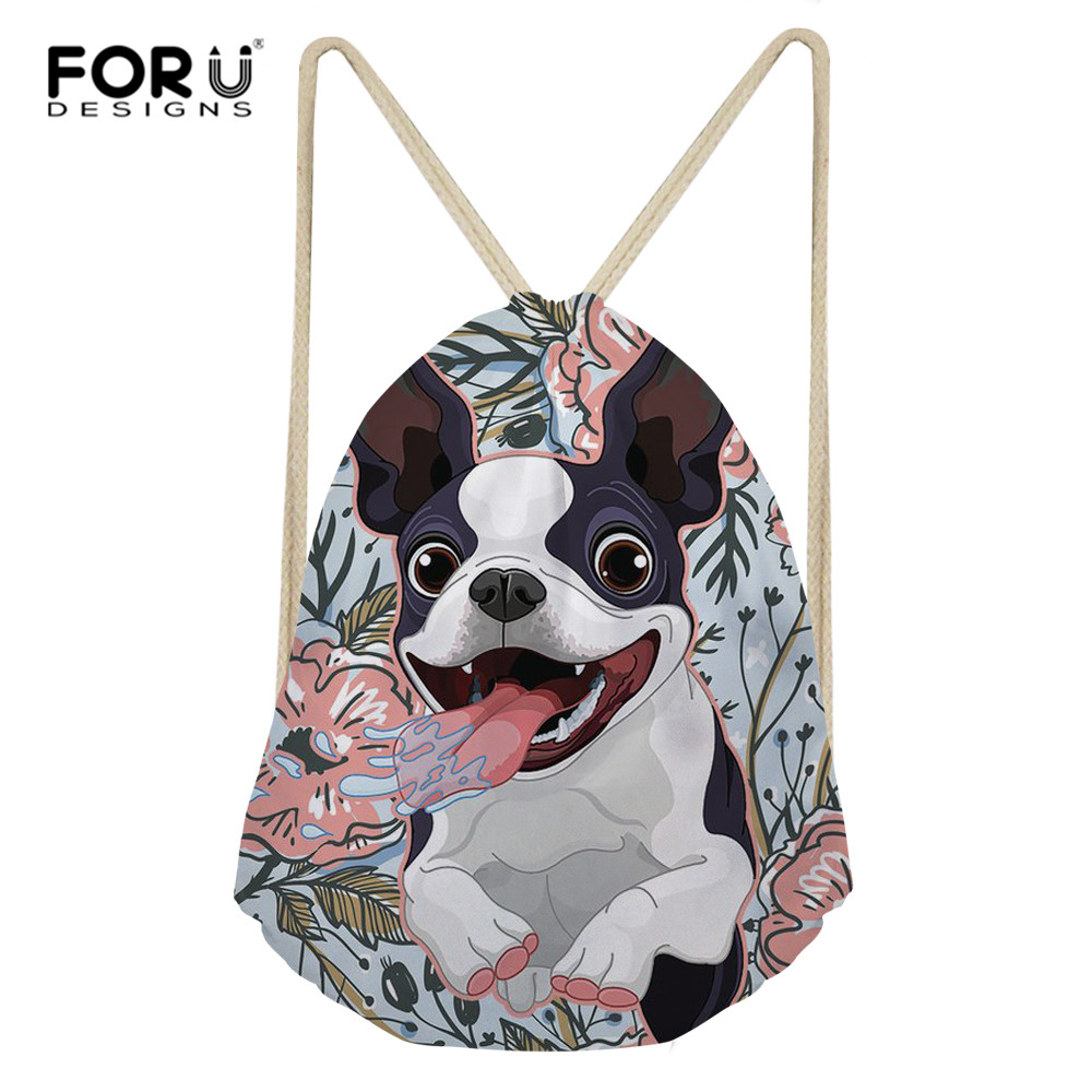 FORUDESIGNS Women Men Drawstring Bags Backpack Boston Terrier Backpacks For Teenagers School Shoulder Bag Travel Storage Pouch