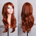 MCOSER 70cm Orange Brown Wavy Fashion Sexy Women Hair Synthetic Lolita Costume Party Cosplay Full Wig