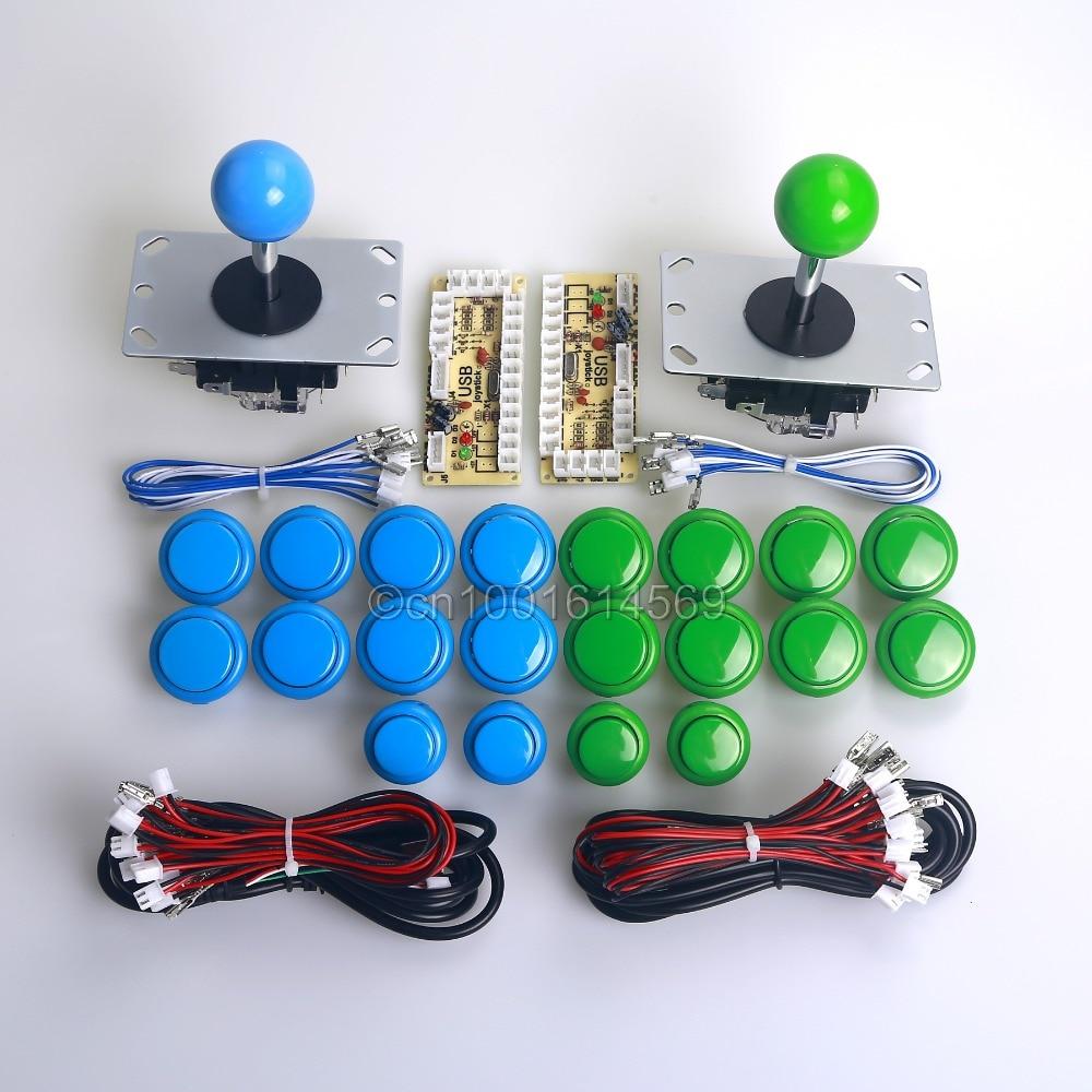 MAME Cabinet DIY Kits 2x Zero Delay USB Encoder + 2 x 8 Way Joystick + 20 x Arcade Push Buttons for Sanwa Button Sanwa Joystick
