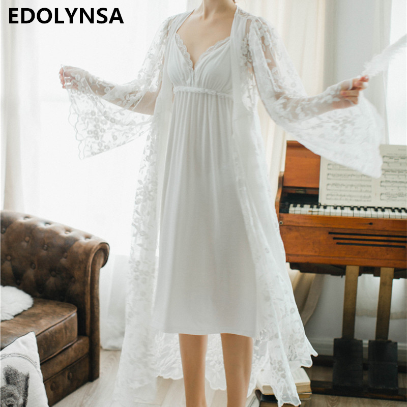 Lace Nightgowns Sleepshirts White Robes Set Bathrobe Sets Sexy Nightdress Bridesmaid Robes Set Peignoir Wedding Robe Sets #H367