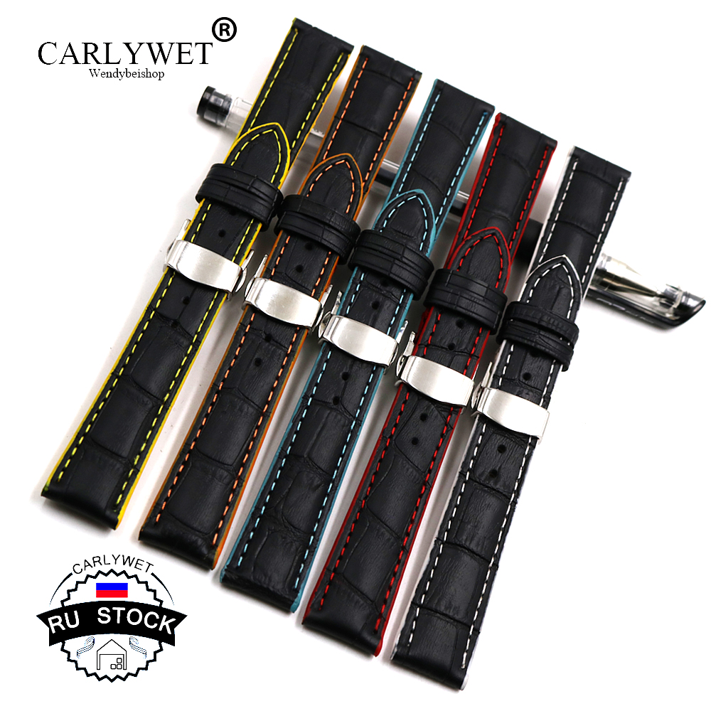 CARLYWET RU STOCK 18 20 22mm Leather Black Handmade Replacement Wrist Watch Band For Omega Rolex Panerai Tag IWC Patek Tudor in Watchbands from Watches