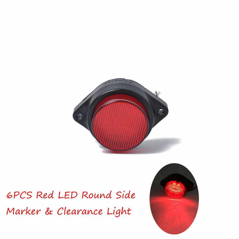 New Arriving 6LED Round Side Marker LED Lights for Car Truck Pickup Trailer 12-24V Side Turn Dropship #0927
