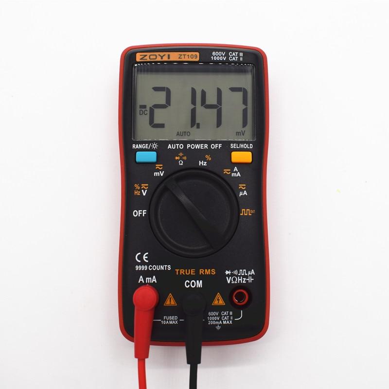 ZT109 True-RMS Digital Multimeter 9999 counts Square Wave Backlight AC DC Voltage Ammeter Current Ohm Auto/Manual