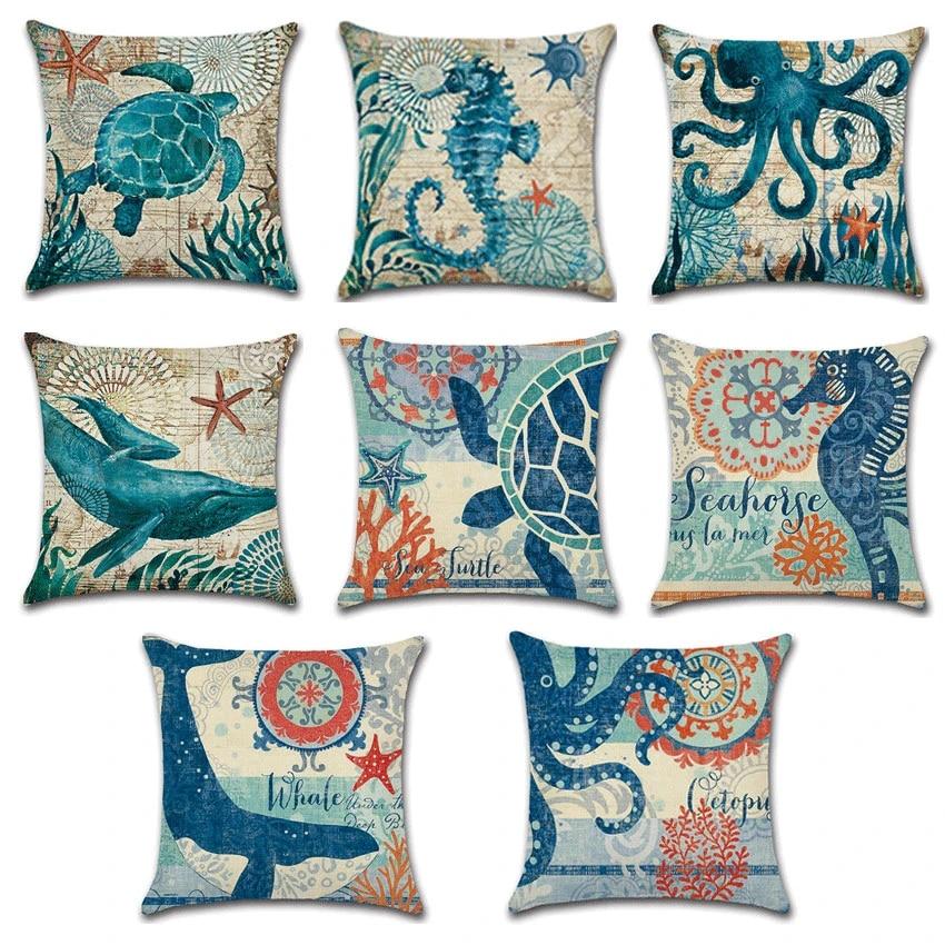 nautical pillow covers throw pillow case sea theme decorative cotton linen coastal cushion cover for 18 x 18 inch pillow insert