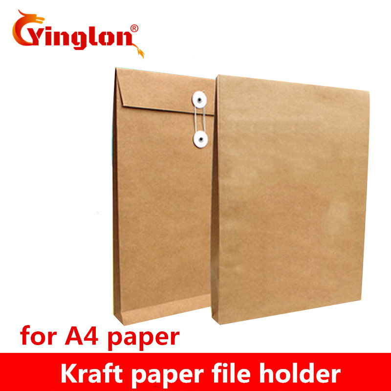 A4 Brown Kraft Paper File Holder Envelope Bags Document Storage Organizer Envelopes With String School Office Project Folder Bag