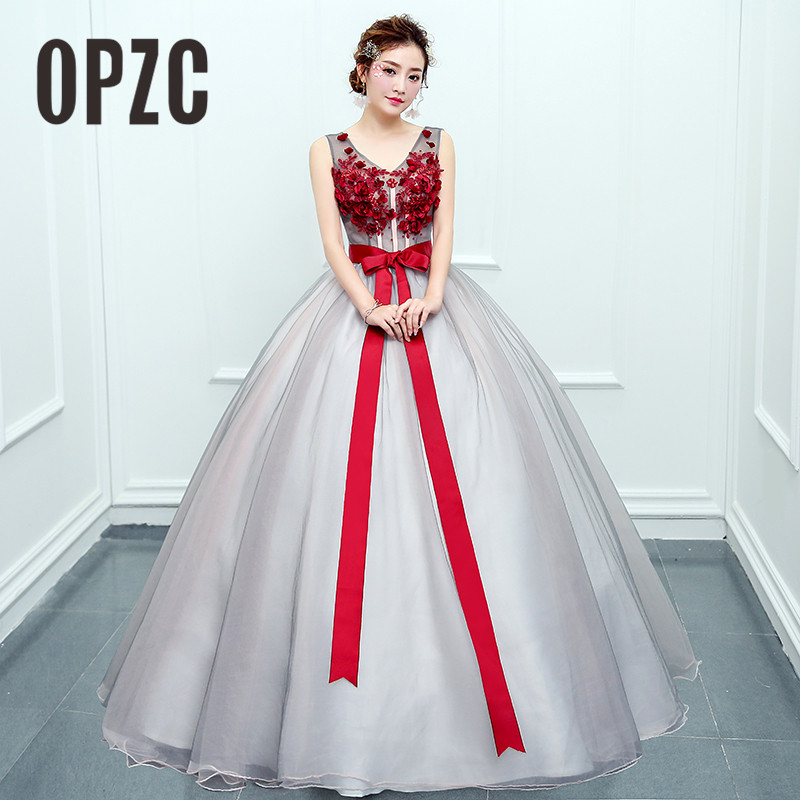 2018 Sweetheart Colorful Long Evening Dress Sleeveless Ball Gown With Jubilant Red Flowers And Bow For Host Of Annual Meeting