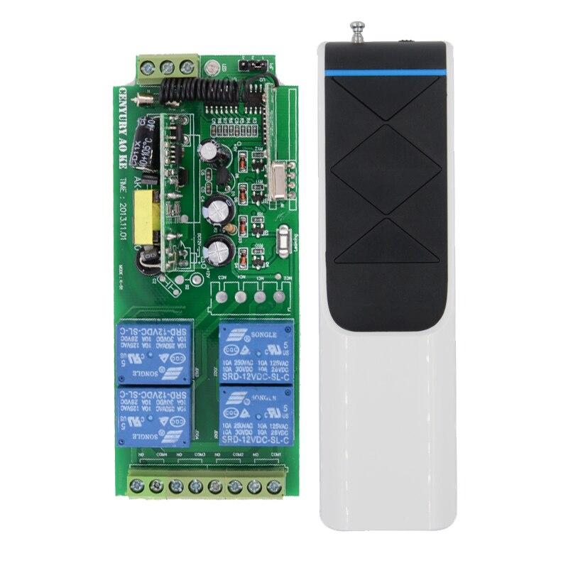 100% New Power Transmitter AC85v~250V 110V 220V 230V 4CH RF Wireless Remote Control Switch , Receiver +White Black Transmitter 4ch dc5v rf transmitter